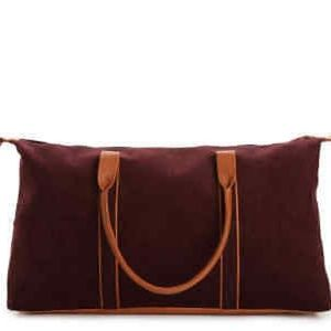 DSW Burgundy Corduroy Overnight Travel Bag